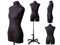 Портновский женский манекен Royal Dress forms MONICA, с подставкой Милан, с конструктивными линиями. Р-р 46 ( черный , бежевый).